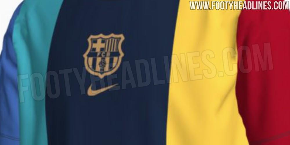 巴塞罗那2022/2023赛季客场球衣风格T恤谍照